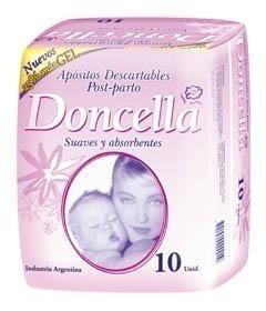 Doncella Aposito Post Parto Con Cinta Central Adhesiva 20 Paq. X 10 Unid.
