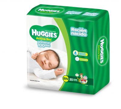 Pañal Huggies Active Sec Recien Nacido 12x20