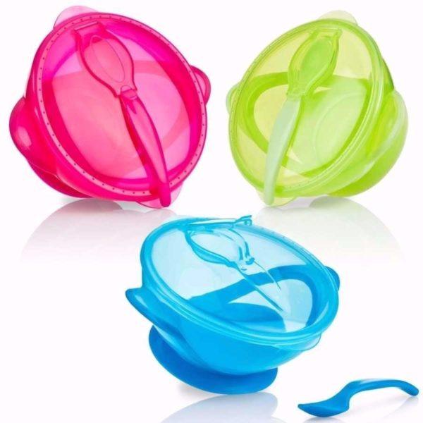 48526054190 Bowl De Colores Con Tapa Y Cuchara, Incluye Ventosa