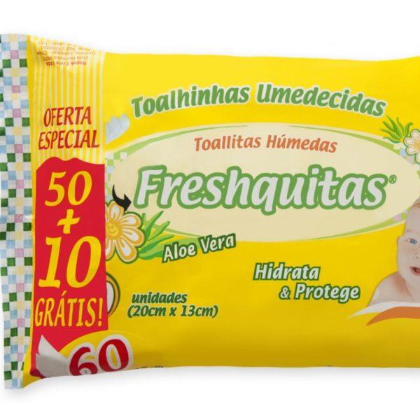 Toallitas Húmedas Freshquitas Flow Aloe Vera X 50+10u