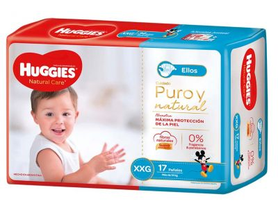 Pañal Huggies Natural Care Varon Xxgx17