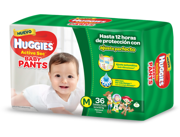 Pañal Huggies Active Sec Baby Pants M X36