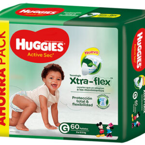 Pañal Huggies Active Sec G X60